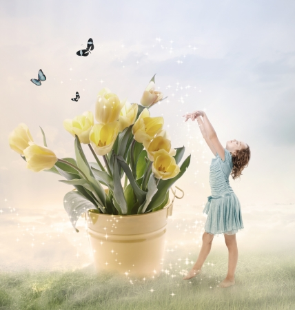 Little Girl with Big Flowers (Fantasy) Stock Photo - 15190297