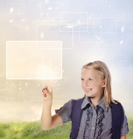 child finger: Young Blonde Girl Looking and Pointing at Your Product or Concept
