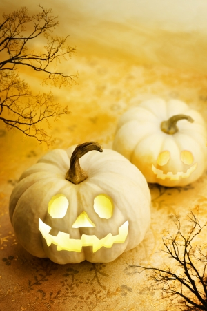Jack O Lanterns with Autumn Trees photo