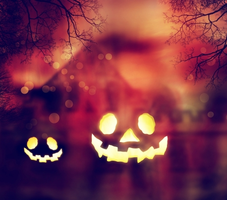 Jack O Lanterns with Autumn Scenery photo