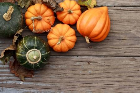 citrouille halloween: Potirons d'automne avec des feuilles sur planche de bois Banque d'images