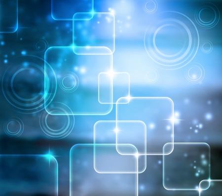 schittering: Abstract Tech Blauwe Glanzende Achtergrond met glans