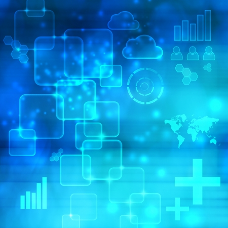computer screen: Abstract Technology Blue Shiny Background with Icons Stock Photo