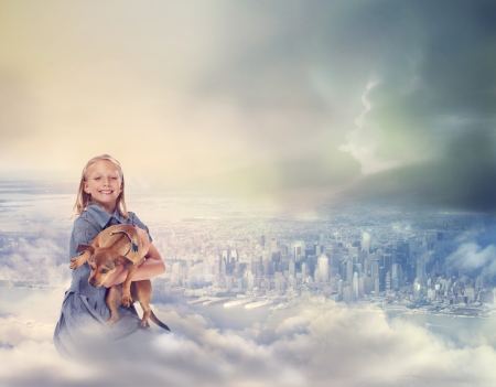 heaven: Young Blonde Girl with her Dog on Top of City