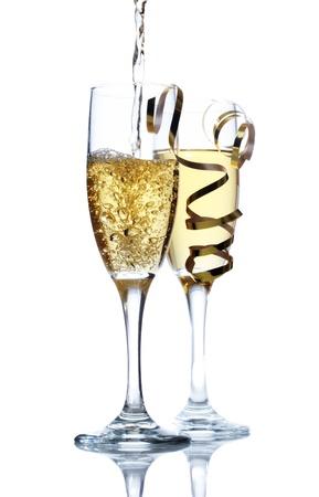 Champange being poured into champange glasses Reklamní fotografie