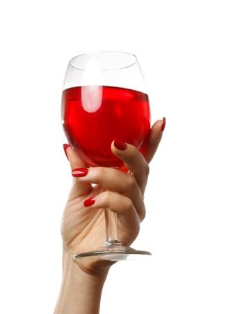 Vrouw die een glas wijn op een witte achtergrond Stockfoto