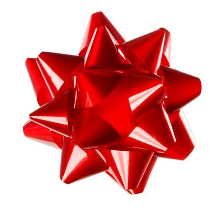 Red Weihnachtsgeschenk Bogen auf weißem Hintergrund