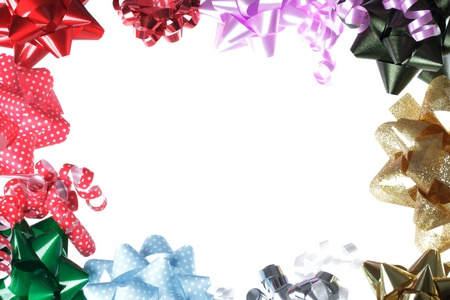 Holiday gift bow border with white background Stock Photo - 15870477