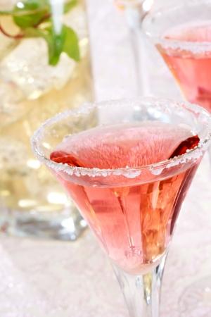alcoholic beverage: Red margaritas with salt