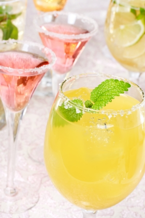 chilled: Yellow and red margaritas with salt and garnish