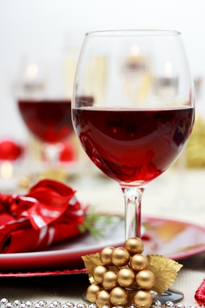 Red wine at Christmas dinner photo