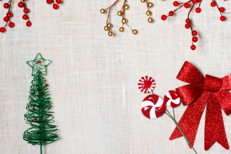 Christmas burlap backdrop with bow Stock fotó