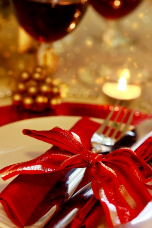 Decorated Christmas Dinner Table Setting  photo