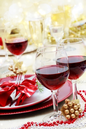 candle light dinner: Red wine at Christmas dinner