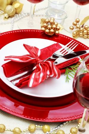 Dekoriert Christmas Dinner Table Setting Standard-Bild - 16485279