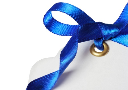 Price Tag with Blue Ribbon on White Background photo