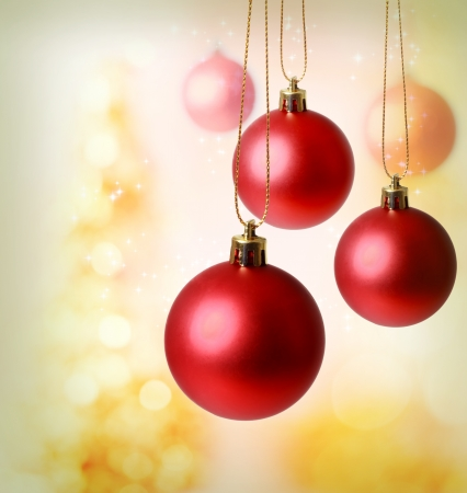 Red Christmas ornaments with golden background Stock Photo - 16630444
