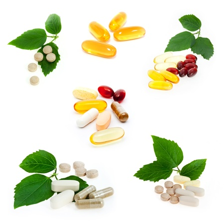 Collection of supplements on white background Stock Photo - 17089948