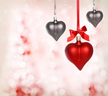 Valentine heart ornaments with pink light background Stock Photo - 17089950