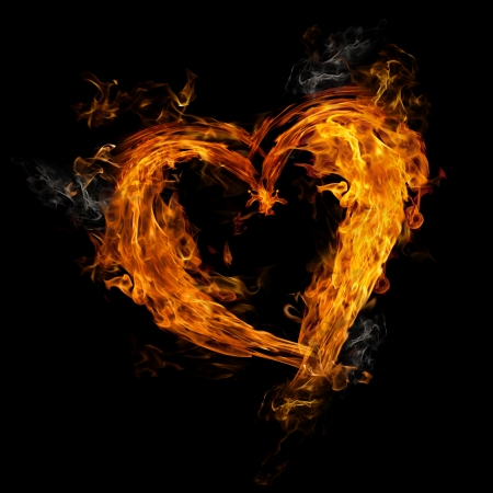 heart in flame: Heart made of fire on black background Stock Photo