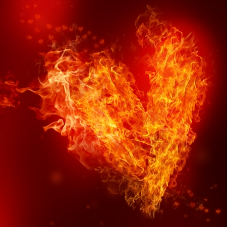 romance: Fire Heart with small hearts on red background Stock Photo