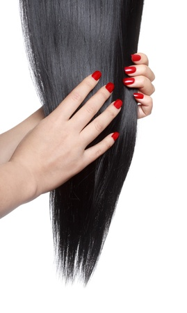 Long straight black hair with red nails