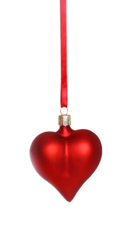 Red heart ornament on white background Stok Fotoğraf