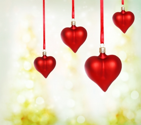 Valentine heart ornaments with abstract light background Stock Photo - 17220394