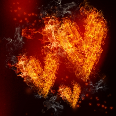 Three Fire Hearts on Black and Red Background