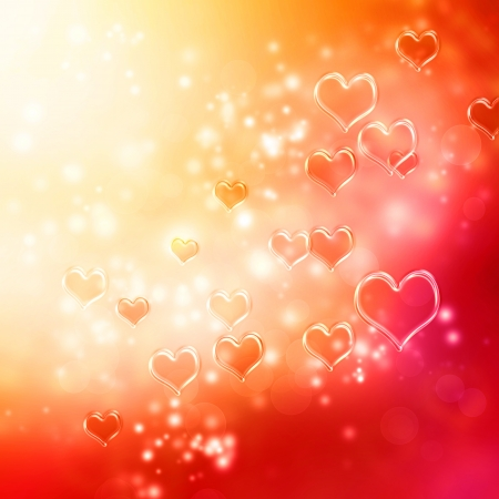 Clear shiny hearts background (red and orange) photo