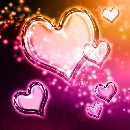 Clear shiny hearts background (pink and black) Stock Photo