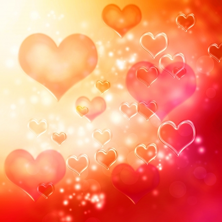 Clear hearts background (red and orange) photo