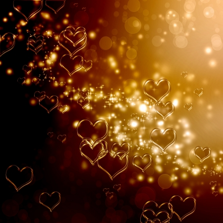 Clear shiny hearts background (gold and brown) photo