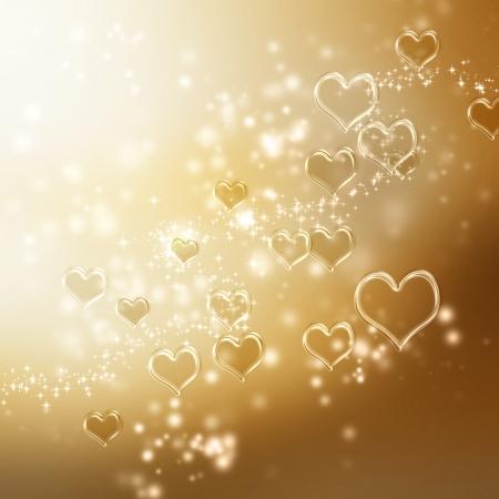 Clear shiny hearts background (gold) Stock Photo - 17305646