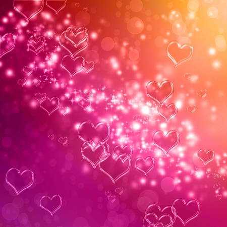 Clear shiny hearts background (pink and orange) photo