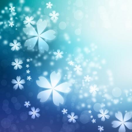 블루 그라데이션 벚꽃 배경 스톡 콘텐츠