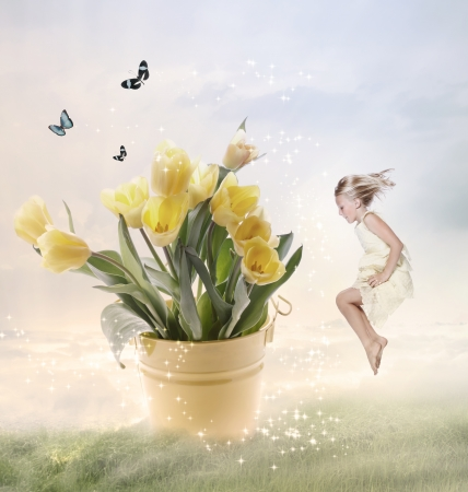 Little Girl with Big Flowers (Fantasy) Stock Photo - 17347507