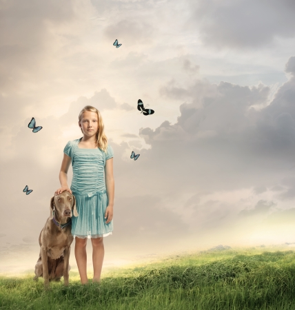 children of heaven: Young Blonde Girl with her Dog on a Magical Mountain