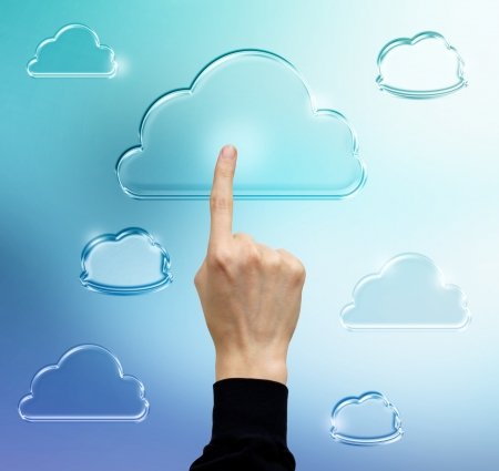 Pressing Cloud computing icon (in blue) Stock Photo - 17477463