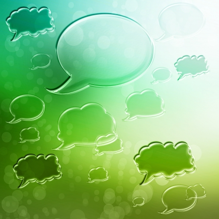 Green speech bubbles on green gradient background