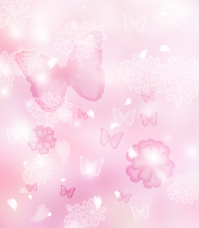 Blossoms and butterflies pastel pink illustration