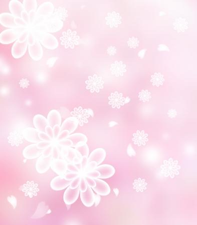 Chrysanthemum Blossoms pastel pink illustration