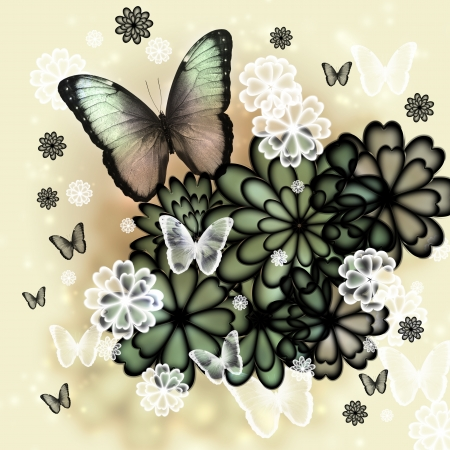 Butterflies and blossoms tinted illustration
