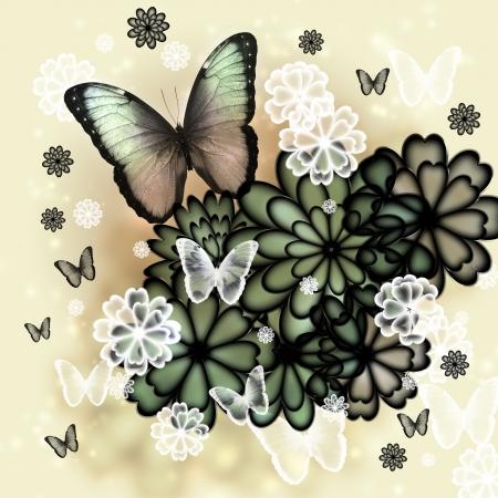 Papillons et fleurs illustration teintée Banque d'images - 17526689