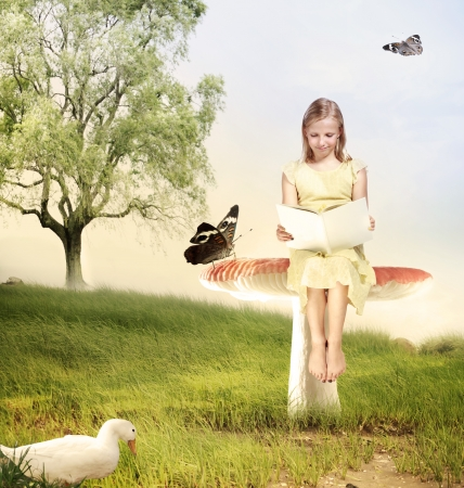 Blonde Girl Reading a Book with Butterflies and Duck photo