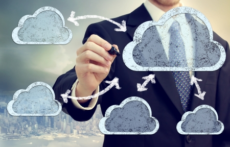 Cloud computing, technology connectivity concept Stock Photo