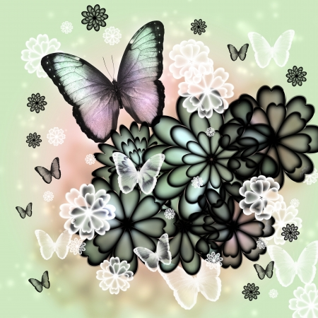Butterflies and blossoms tinted illustration (pink and green)