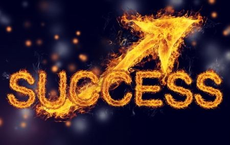 Fiery Success with  Arrows on Dark Blue Black background Banco de Imagens