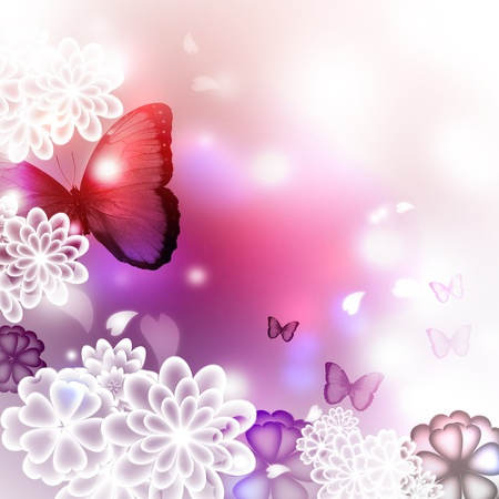 blooming purple: Blossoms and butterflies, pink and purple illustration Stock Photo