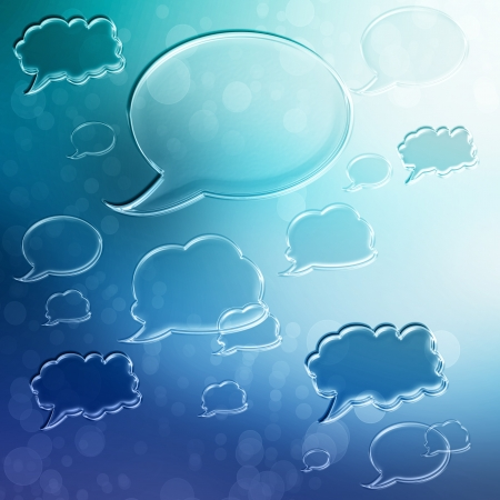 opinions: Blue Speech Bubbles on Blue Gradient Background